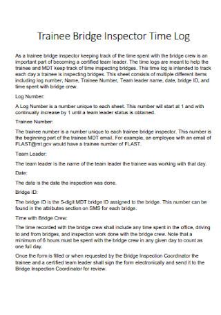 Trainee Bridge Inspector Time Log