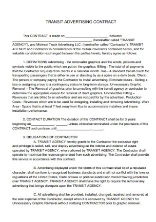 Transit Advertising Contract Template