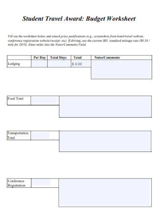 Travel Award Budget Worksheet