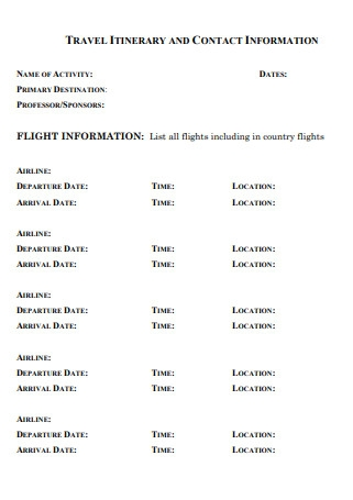 Travel Itinerary Contact Template