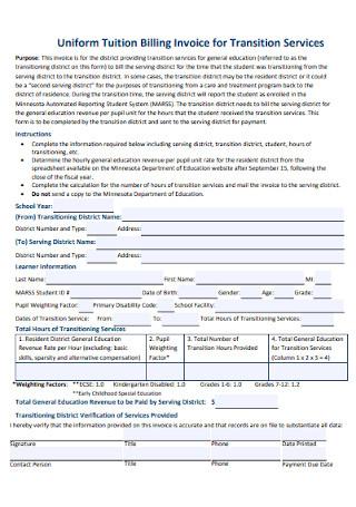 Uniform Tuition Billing Invoice