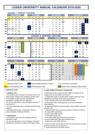 University Annual Calendar