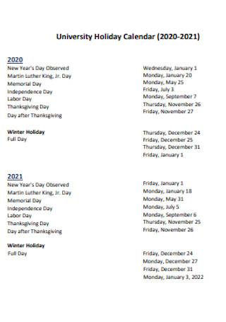 University Holiday Calendar