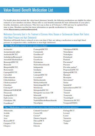 Value Based Benefit Medication List
