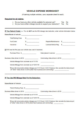Vehicle Expense Worksheet
