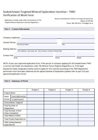Verification of Work Form