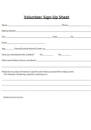 Volunteer Sign Up Sheet1