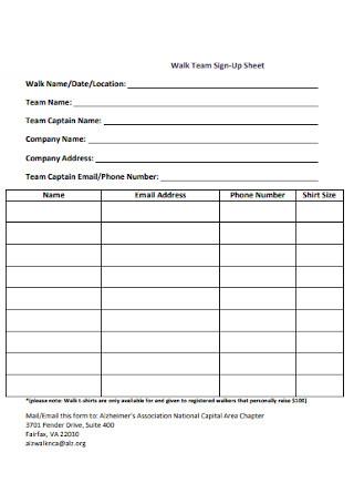 Walk Team Sign Up Sheet