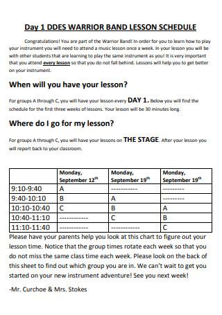 Warrior Band Lesson Schedule