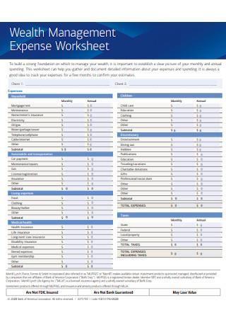 Wealth Management Expense Worksheet
