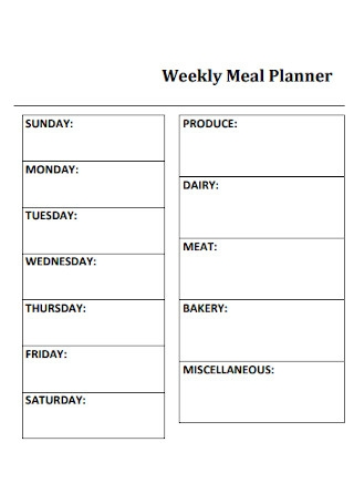 Weekly Kitchen Meal Planner