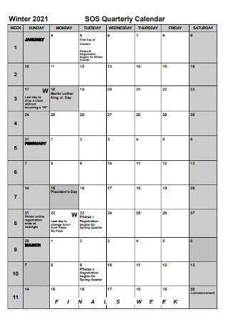 Wiinter Quaterly Calendar