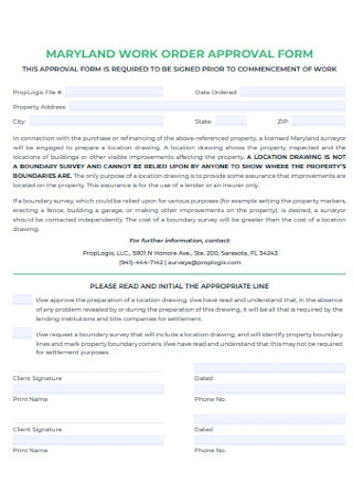 Work Order Approval Form