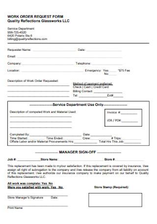 Work Quality Order Form