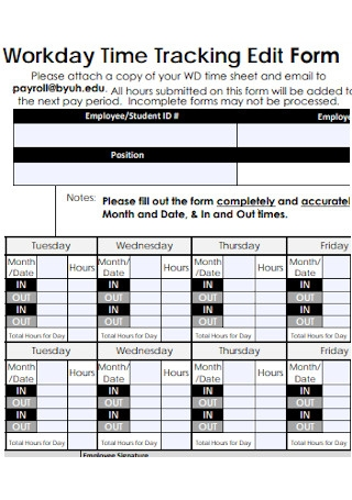 Workday Time Tracking Edit Form