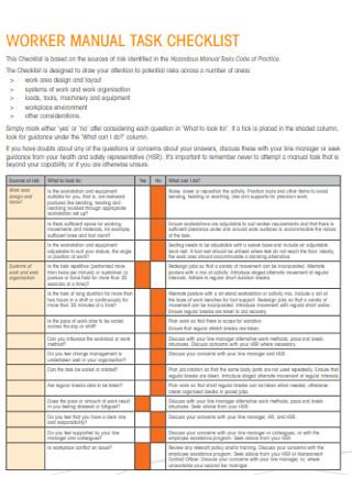Worker Manual Task Checklist