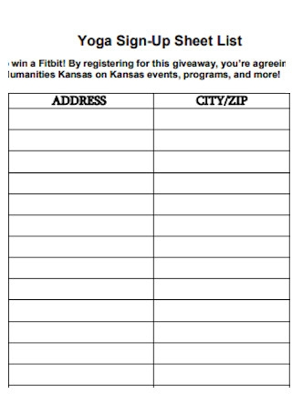Yoga Sign Up Sheet List