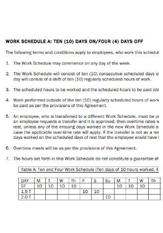 10 Days Work Rotation Schedule