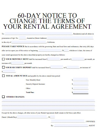 60 Day Notice of Rent Increase