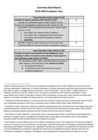 Academic Data Report