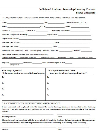 Academic Internship Learning Contract