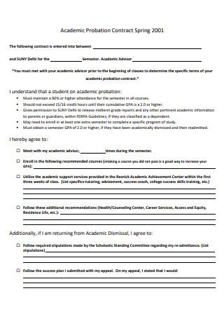 Academic Probation Contract