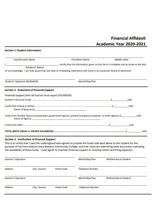 Academic Year Financial Affidavit