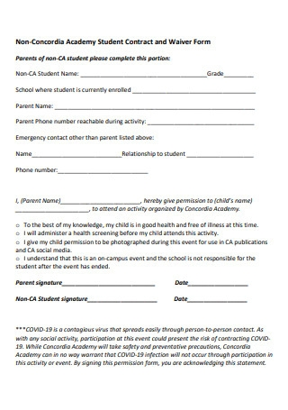 Academy Student Contract and Waiver Form2