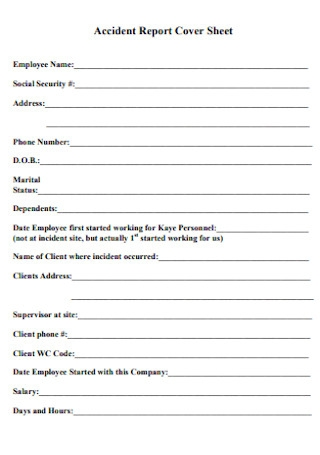 Accident Report Cover Sheet