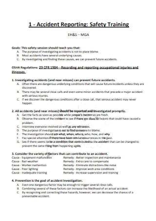 Accident Safety Training Report