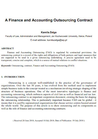 Accounting Outsourcing Contract