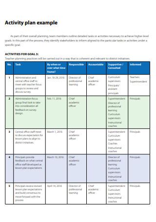 Activity Plan Example