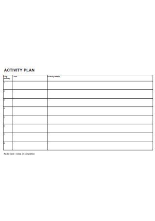 Activity Plan Format