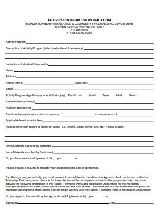 Activity Program Proposal Form