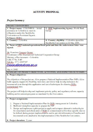 Activity Proposal in DOC