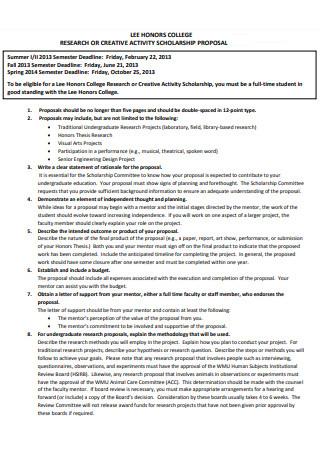Activity Scholarship Proposal
