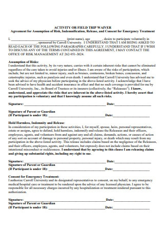 Activity or Field Waiver Agreement