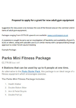 Adult Gym Proposal