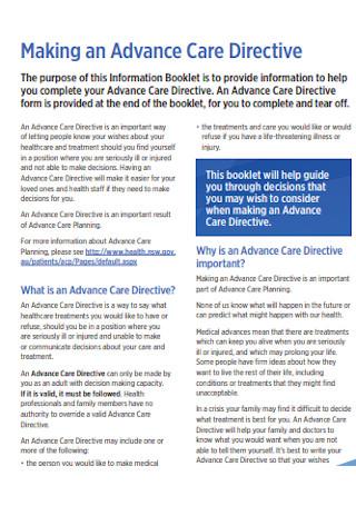 Advance Care Directive Template