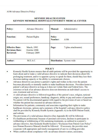Advance Directive Policy Template