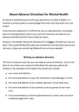 Advance Directives for Mental Health