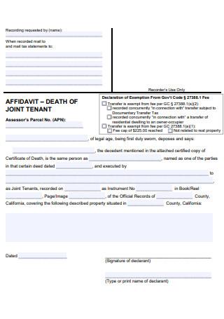 Affidavit Death of Joint Tenant