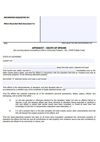 Affidavit Death of Spouse