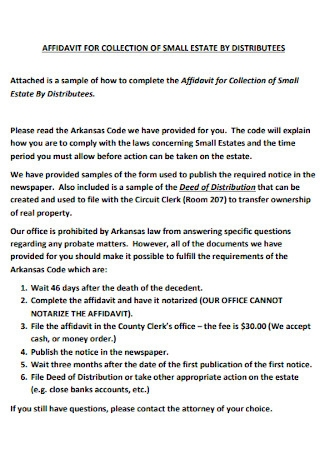 Affidavit for Collection of Small Estate