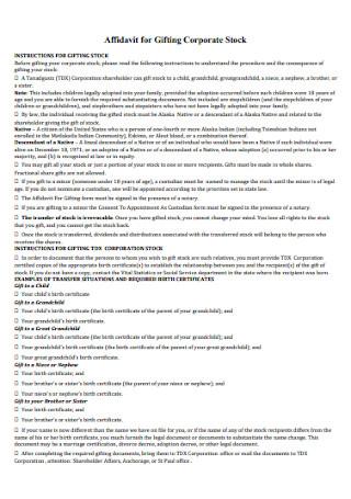 Affidavit for Gifting Corporate Stock