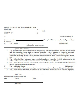 Affidavit in Lieu of Death Certificate