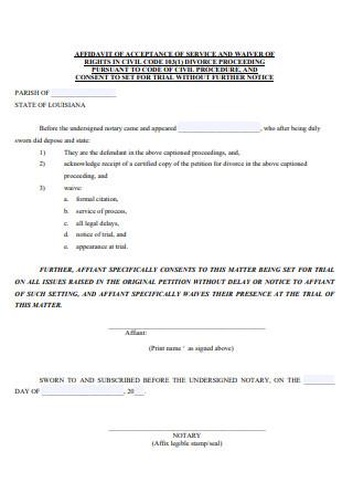 Affidavit of Acceptance of Service