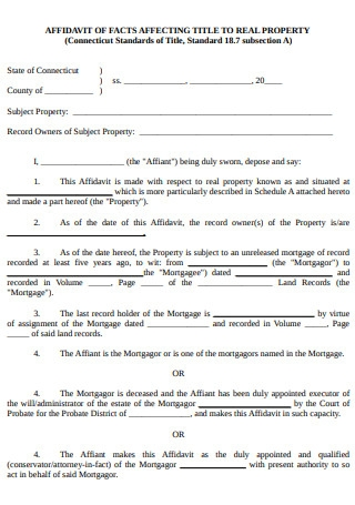 Affidavit of Affecting Title to Real Property