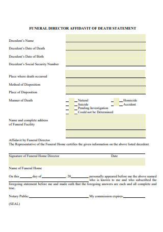 Affidavit of Death Statement