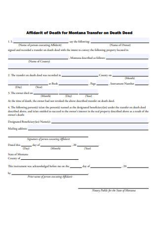 Affidavit of Death for Transfer on Death Deed